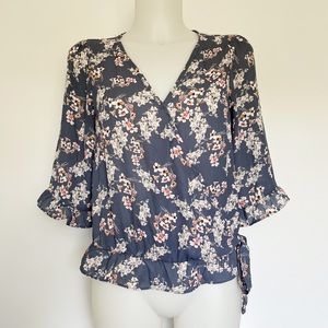 SIENNA SKY Floral Ruffle Sleeve Blouse Size S